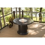 "Grand Colonial Dining Table - 48"" British Granite Top w/ Lazy Susan Cover"