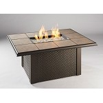 Napa Valley Fire Pit Rectangular Table - Brown Wicker Base
