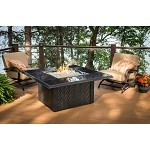 Napa Valley Fire Pit Square Table - Absolute Black Wicker Base