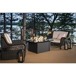 Grand Stone Fire Pit Table - Absolute Black Granite / Napa Valley Black Wicker Base