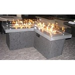 The Pointe Fire Pit L-Shape Table - Midnight Mist Top