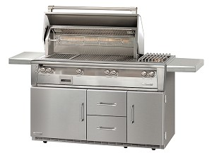 Alfresco LXE Series 56 Inch Standard Propane Grill w/ Sideburner on Refrigerated Base