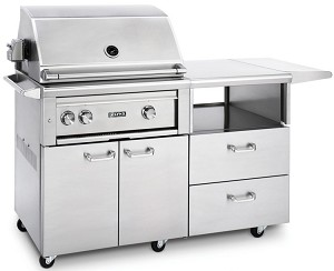 Lynx 30 Inch Professional Natural Gas Grill w/ Rotisserie on Mobile Kitchen Cart