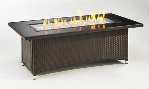 Montego Fire Pit Coffee Table - Black Top Balsam Wicker Base