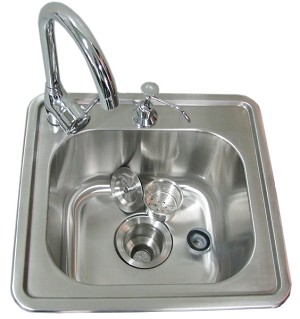 Sunstone 17 Inch Single Sink with Hot & Cold Water Faucet
