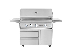 Twin Eagles 42 Inch Natural Gas Grill with Rotisserie and Sear Zone on Cart